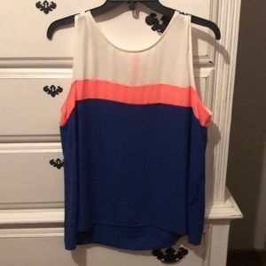 Navy, pink and cream top